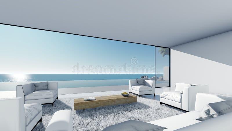 3d übertragen Poolterrassen-Seeansicht sich entspannen linkes Ansichtwohnzimmer stock abbildung
