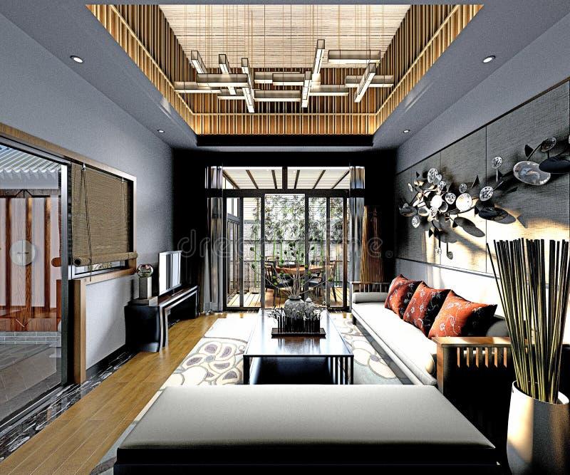 3d übertragen postmodern Wohnzimmer lizenzfreie abbildung