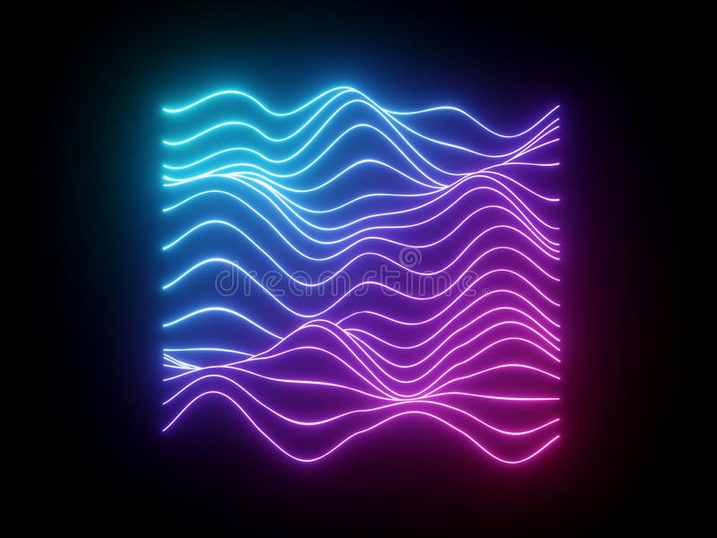 3d übertragen, rosa blaue gewellte Neonlinien, virtueller Entzerrer der elektronischen Musik, Schallwelle, UV-Licht abstrakter H lizenzfreie abbildung
