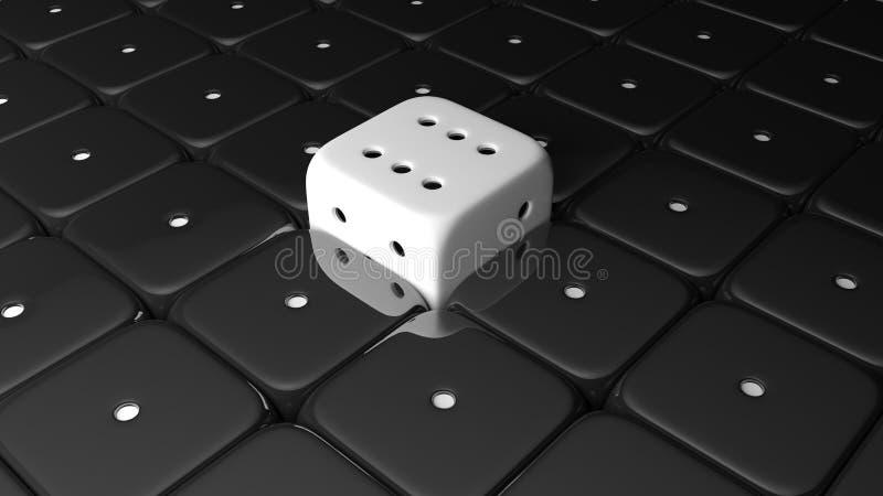 3D übertragen sechs weiße Würfel des Siegers stock abbildung