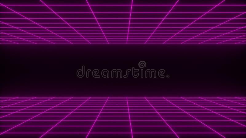 3D übertragen synthwave wireframe abstrakten Nettohintergrund Zukünftige Retro- Linie Gitterillustration stock abbildung