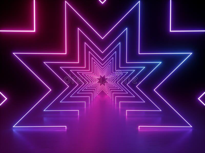 3d übertragen, ultraviolette Neonsternform, glühende Linien, Tunnel, virtuelle Realität, abstrakter Modehintergrund, violettes pu lizenzfreie abbildung