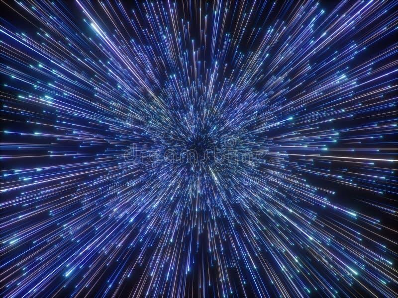 3d übertragen, Urknall, Galaxie, abstrakter kosmischer Hintergrund, die Feuerwerke, himmlisch, Universum, Lichtgeschwindigkeit, N lizenzfreie abbildung