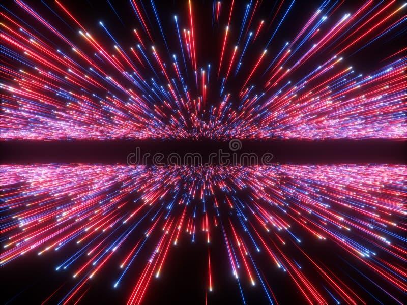 3d übertragen, Urknall, Galaxiehorizont, der abstrakte kosmische Hintergrund, himmlisch, Schönheit des Universums, Neonlicht, rot vektor abbildung