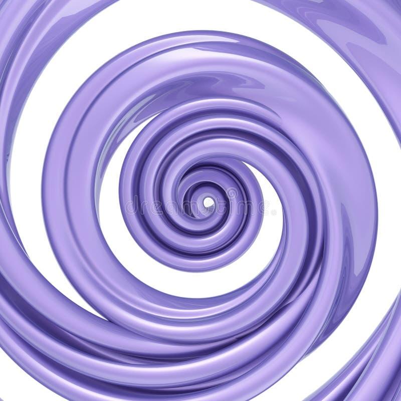 3d übertragen, verdrehte Spirale, violette Zuckerstange, Pastellfarbstrudel, Strudel, Helix, abstrakter Hintergrund vektor abbildung