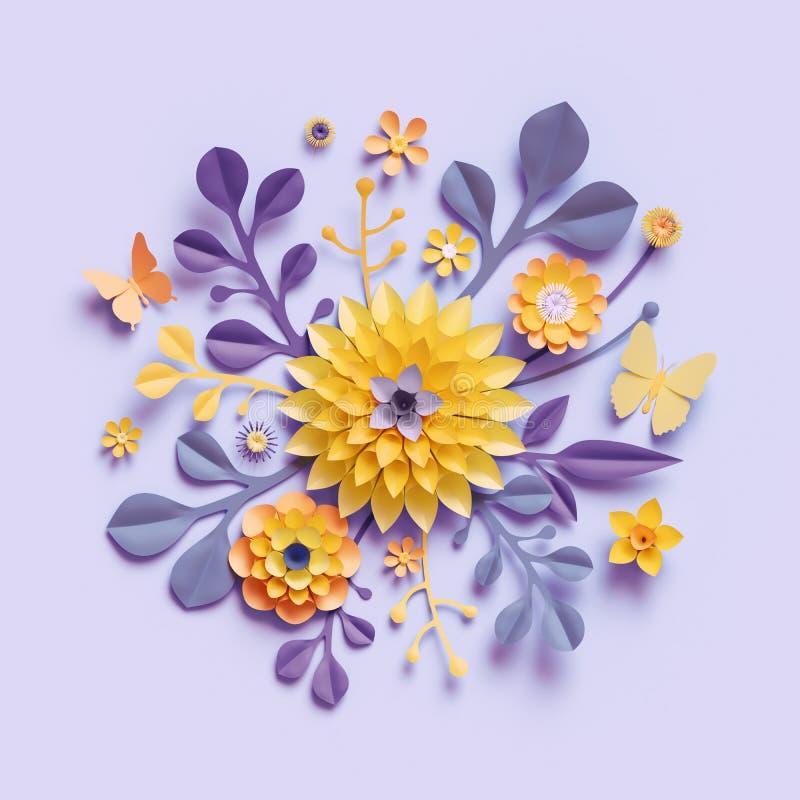 3d übertragen, violette gelbe Kraftpapierblumen, botanischer Hintergrund, Blumengesteck, festlicher Blumenstrauß, lokalisierter stock abbildung