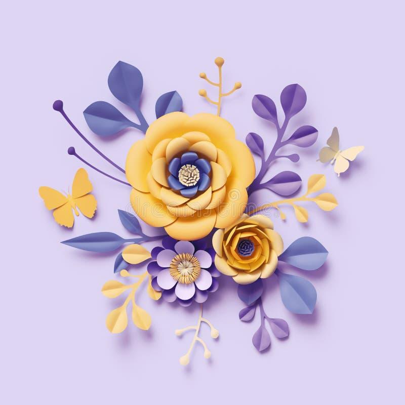 3d übertragen, violette gelbe Kraftpapierblumen, botanischer Hintergrund, Blumengesteck, festlicher Blumenstrauß, lokalisierter vektor abbildung