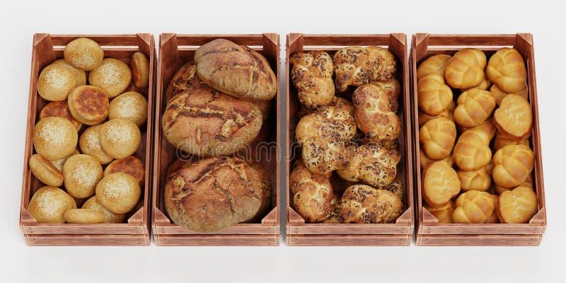 3D übertragen vom Bäckerei-Satz stock abbildung