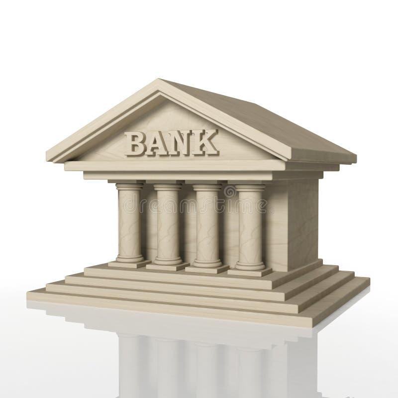 3D übertragen vom Bankgebäude mit Reflexion stock abbildung