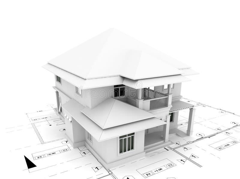 3d übertragen vom Haus auf Plan lizenzfreie abbildung