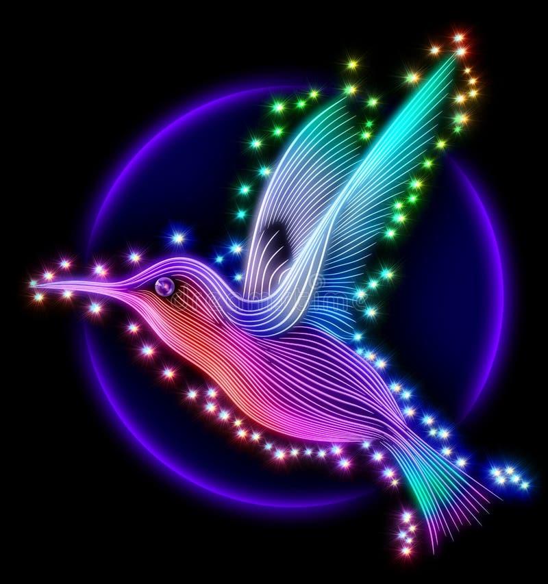 3d übertragen von colibri Vogel - Kolibri mit Sternen stockfoto
