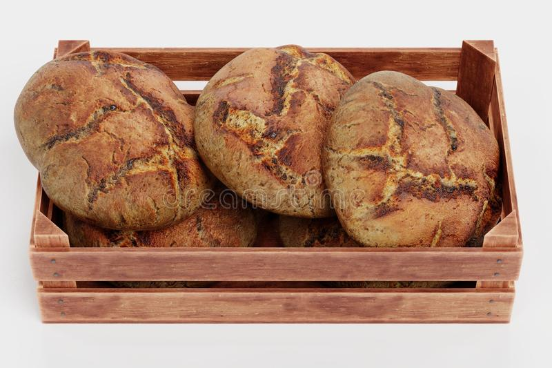 3d übertragen von den Broten im Kasten lizenzfreie abbildung