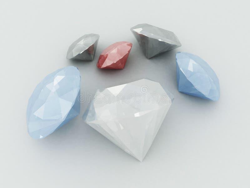 3D übertragen von den Diamantrubinen und -saphiren lizenzfreie abbildung