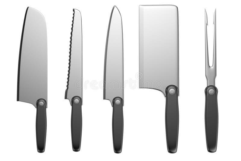 3d übertragen von den Küchenmessern lizenzfreie abbildung