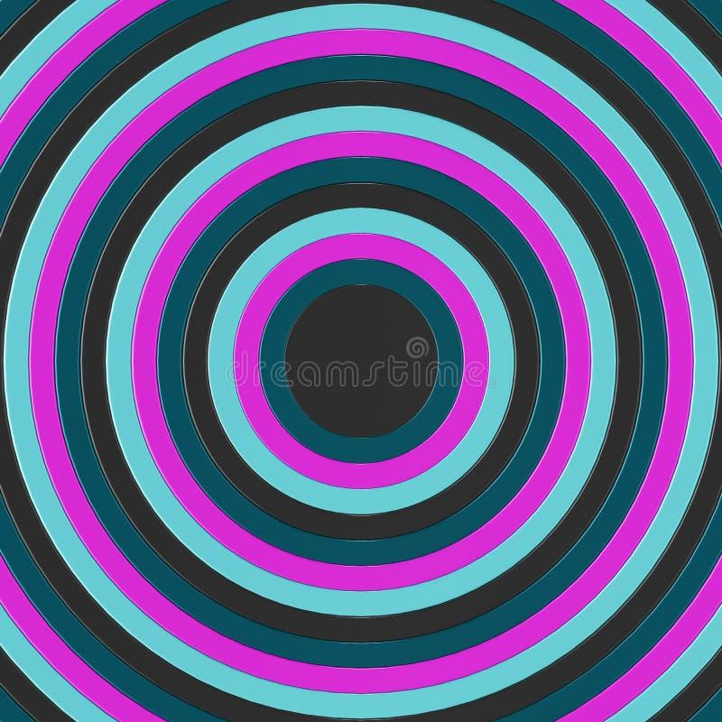 3D übertragen von den konzentrischen Kreisen, die an Größe incresing sind und füllen den Rahmen stock abbildung
