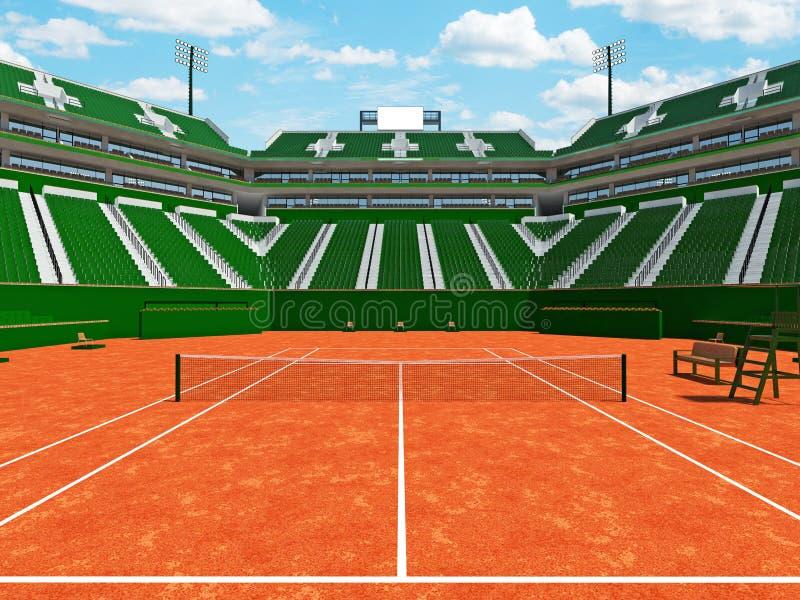 3D übertragen von den schönen modernen Tennissandplatzstadions-Grünsitzen für fünfzehn tausend Fans lizenzfreies stockfoto