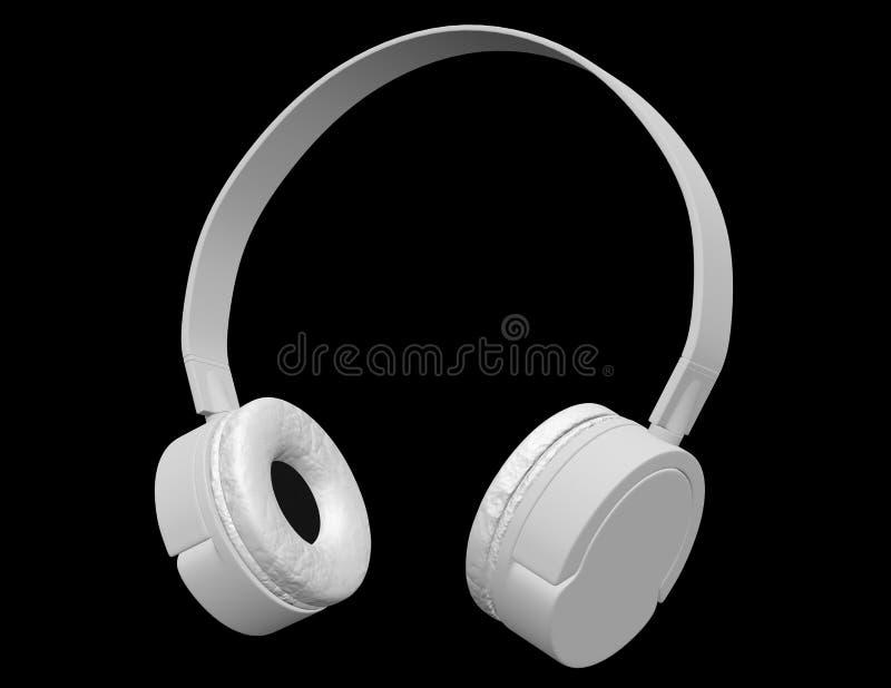 3d übertragen von den weißen Kopfhörern lizenzfreie abbildung