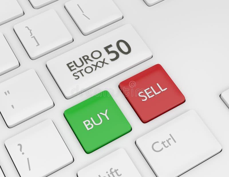 3d übertragen von der Computertastatur mit Indexknopf EURO STOXXS 50 stock abbildung