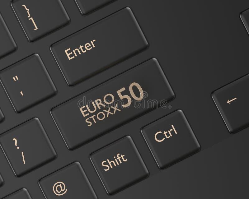 3d übertragen von der Computertastatur mit Indexknopf EURO STOXXS 50 lizenzfreie abbildung