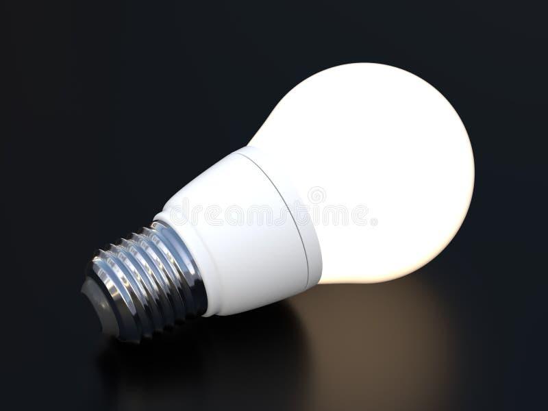 3d übertragen von der geführten Glühlampe, die auf Schwarzes glüht stock abbildung