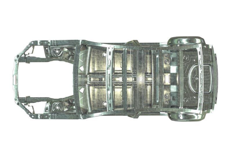 3D übertragen von der metallischen Autogestalt, die auf Weiß lokalisiert wird lizenzfreie abbildung