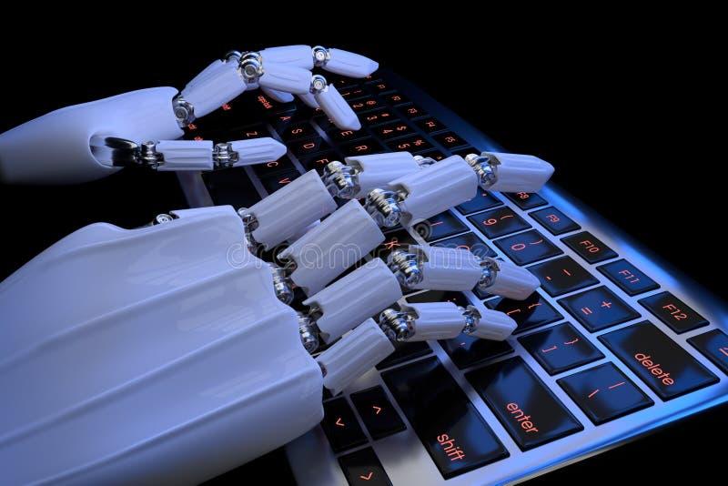 3d übertragen von der Roboterhandnahaufnahme, die auf der Tastatur im dunklen Hintergrund schreibt Roboterarm Cyborg, der Compute stock abbildung
