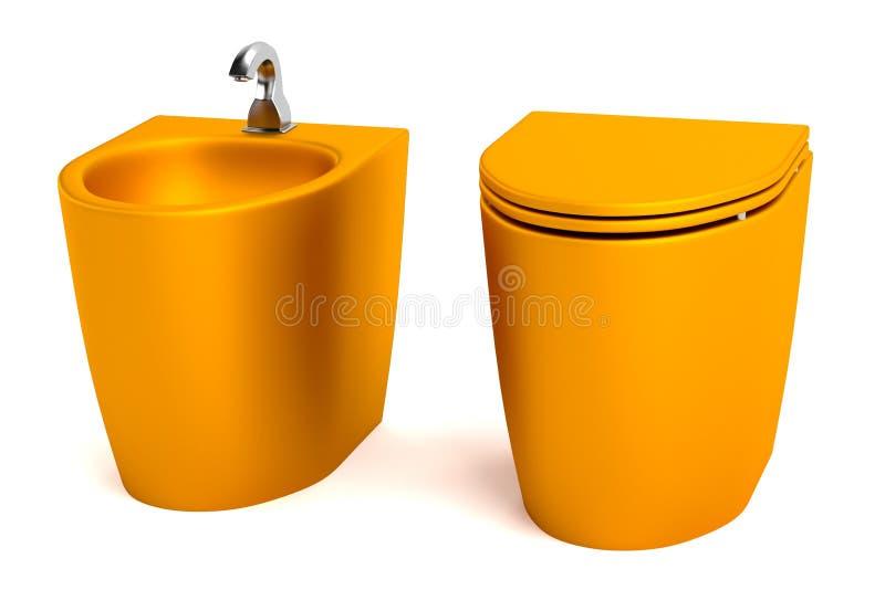 3d übertragen von der Toilette mit Bidet vektor abbildung