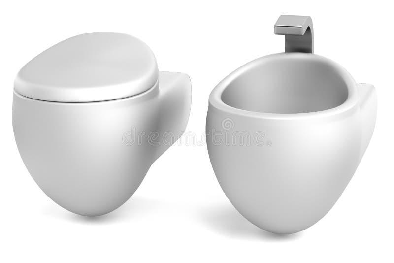3d übertragen von der Toilette mit Bidet lizenzfreie abbildung