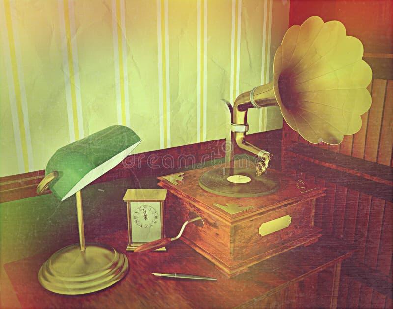 3D übertragen von einem alten Grammophon mit Retro- Effekt vektor abbildung