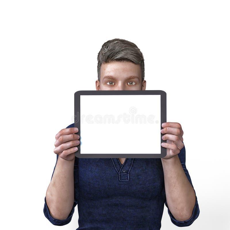 3D übertragen von einem Mann, der eine leere Tablette für Inhalt mit neutralem Ausdruck hält lizenzfreie abbildung