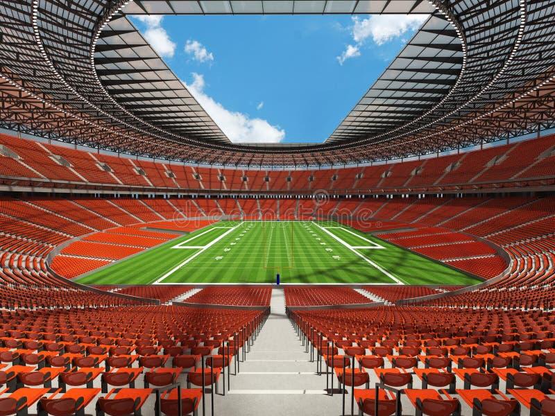 3D übertragen von einem runden Fußballstadion mit orange Sitzen stockfoto