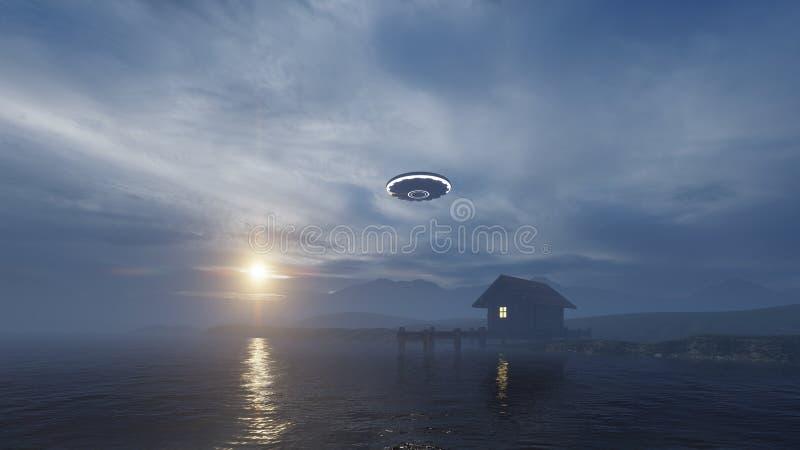 3d übertragen von einem UFO über einem Seehaus stock abbildung