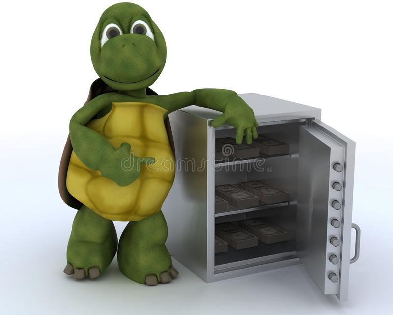 Schildkröte mit einem Safe voll vom Geld stock abbildung