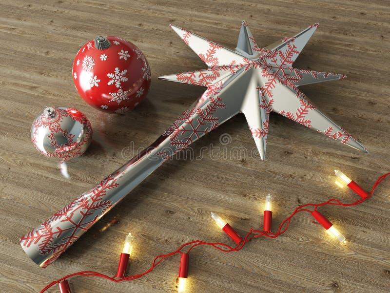 3d übertragen von einer silbernen Stern- und Bälle Weihnachtsdekoration stockfoto