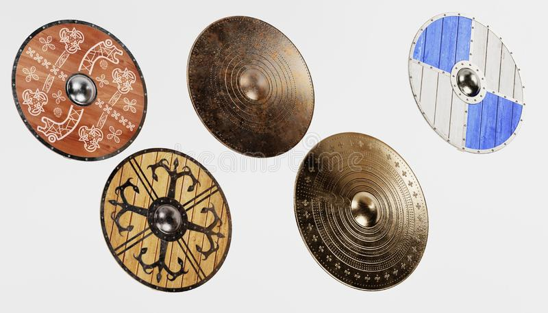 3d übertragen von Viking Shields stock abbildung