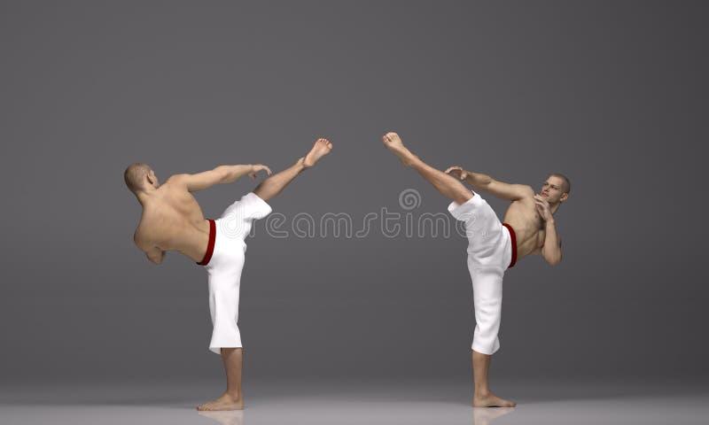3D übertragen: zwei Männer führen hohe Trittaktion mit Kampfkunst-Arten durch lizenzfreie abbildung