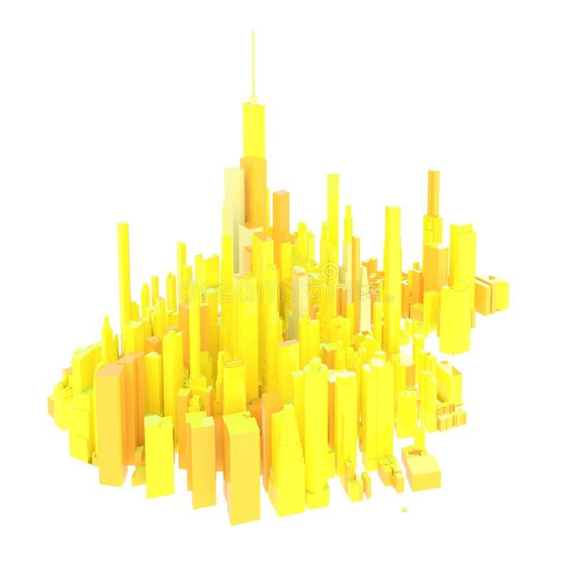 3d übertragene gelbe Skyline lokalisiert vektor abbildung
