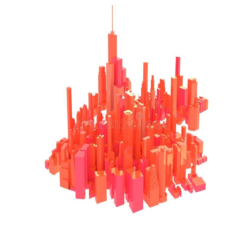 3d übertragene rote Skyline lokalisiert lizenzfreie abbildung