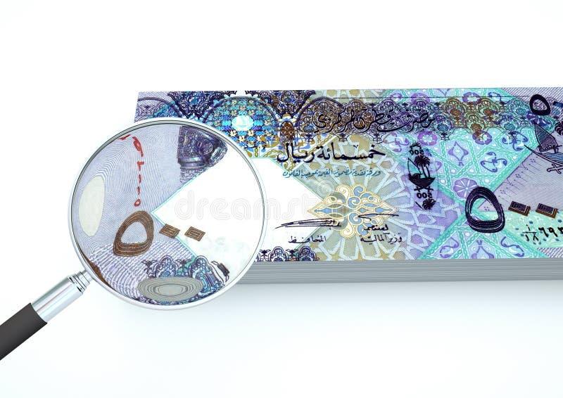 3D übertragenes Katar-Geld mit Vergrößerungsglas forschen Währung auf weißem Hintergrund nach stockfotos