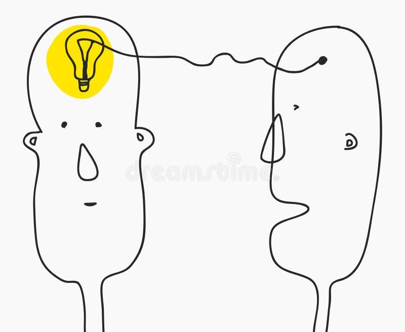3d übertrug Bild Finden der Lösung, Brainstorming, Brainstorming, Glühlampesymbol Moderne Gekritzellinie Artskizze Zwei lizenzfreie abbildung