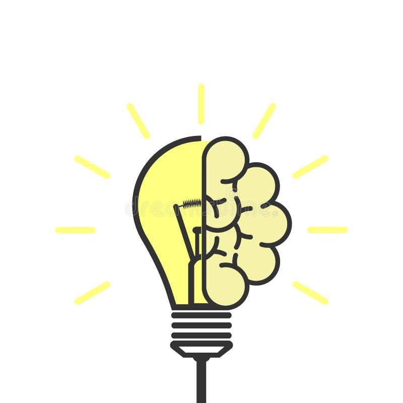 3d übertrug Bild Glühlampe mit Gehirn Symbol der kreativen Idee Auch im corel abgehobenen Betrag lizenzfreie abbildung