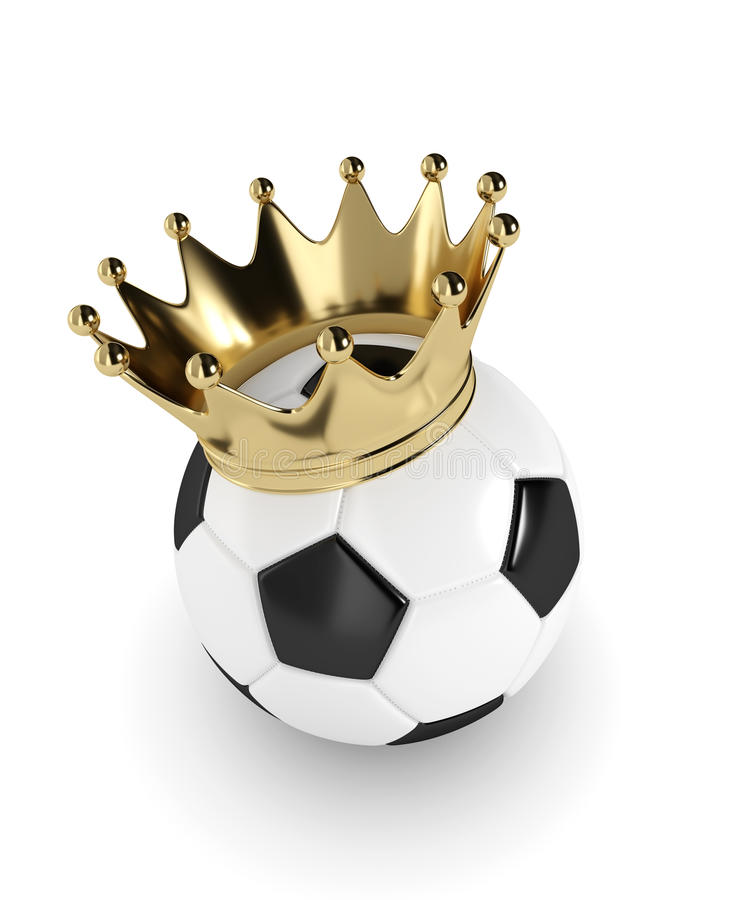 3d übertrug Fußball mit einer goldenen Krone über Weiß stock abbildung