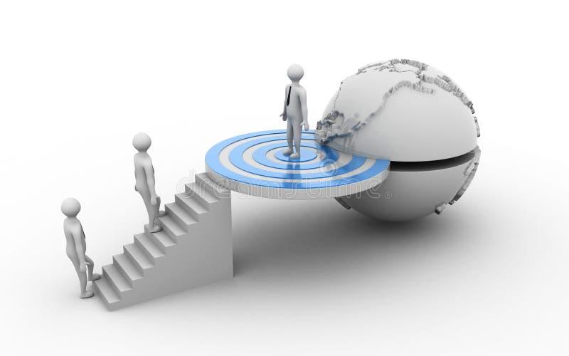 3d übertrug Geschäftsmannstellung auf Zielzeichen andere Männer, die zu seinem erfolgreichen Ziel, Geschäftskonzept auf weißem ba lizenzfreie abbildung