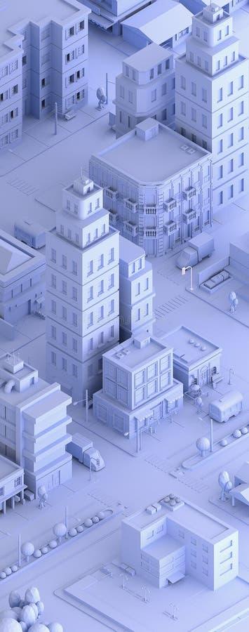 3d übertrug Illustration einer isometrischen Stadt stock abbildung