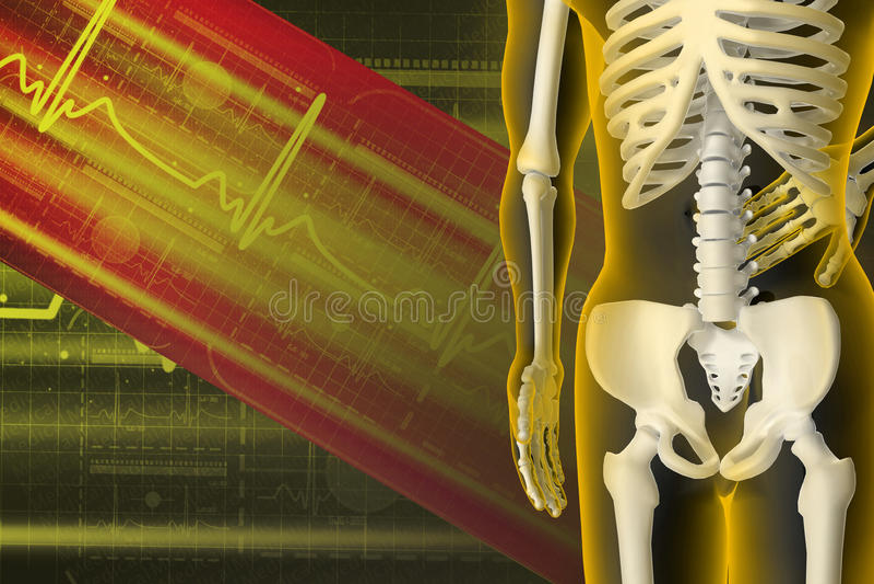 3d übertrug Illustration - Rückenschmerzen lizenzfreie abbildung