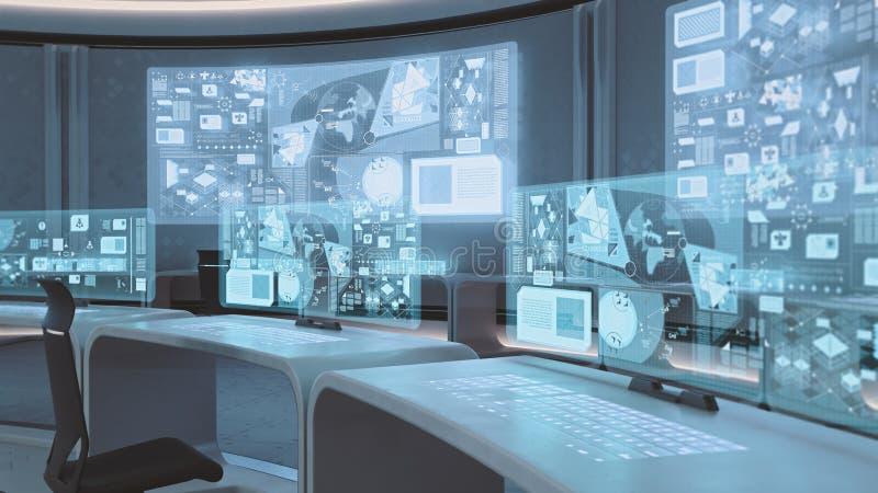 3D übertrug leerer, moderner, futuristischer Kommandozentraleinnenraum stockfotografie