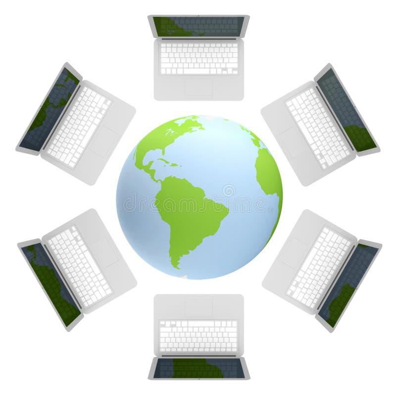 3d odpłacają się laptop Łączący internet ilustracji