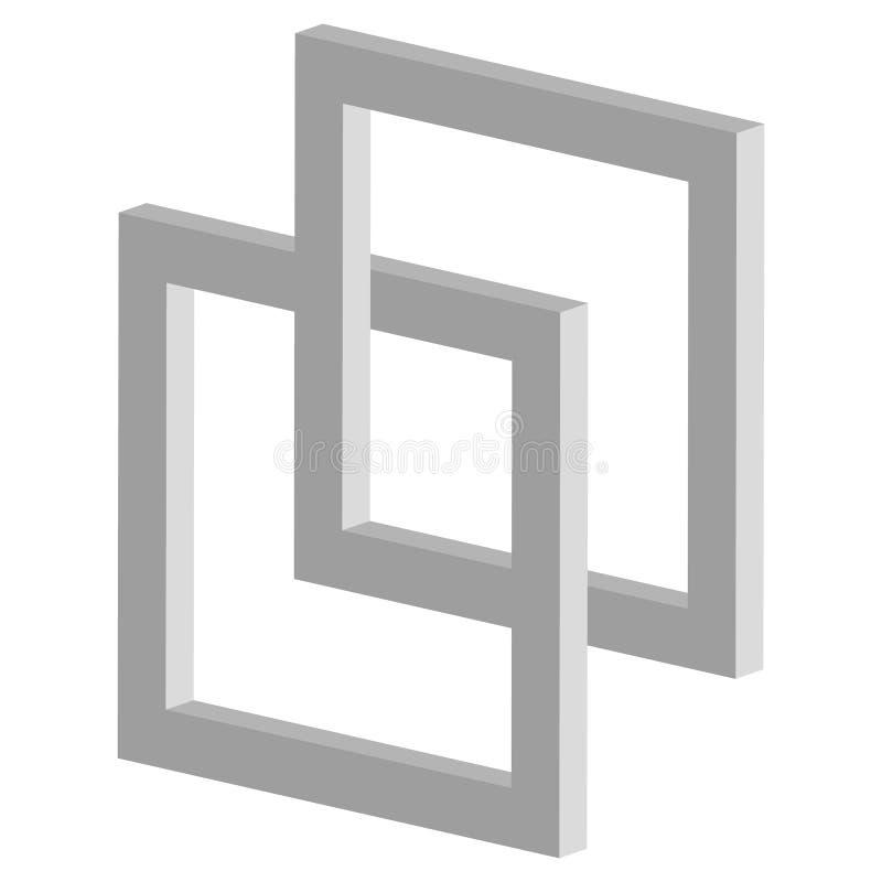 3d łączy kwadrat ikonę - Związany przecina kwadrat fra royalty ilustracja