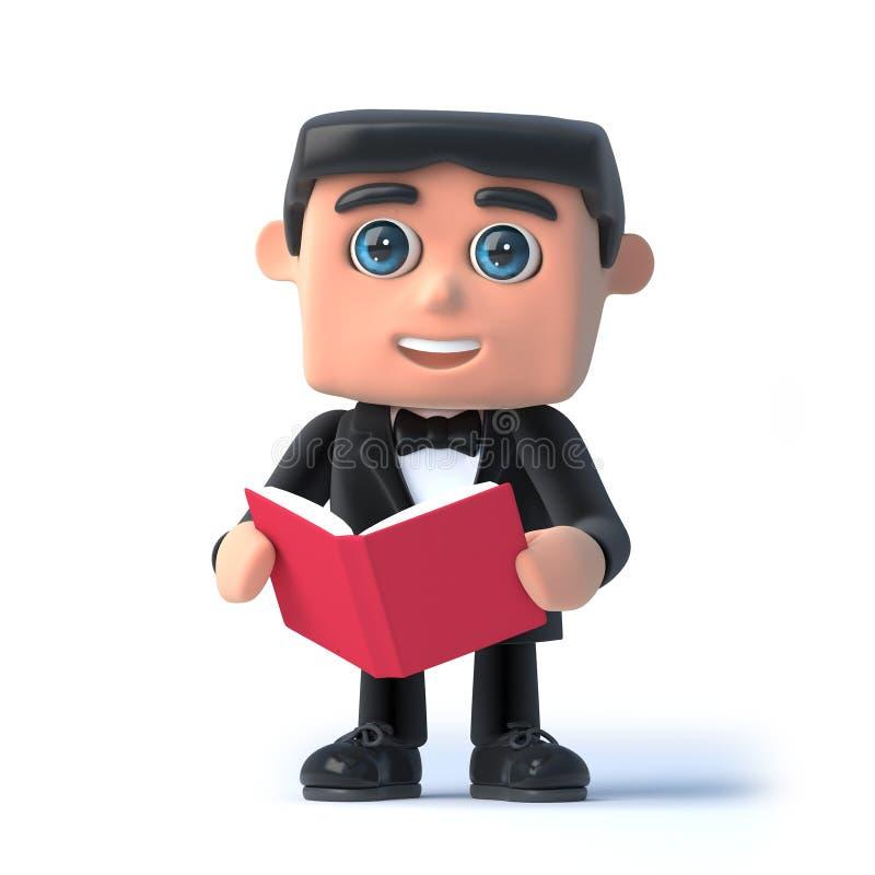 3d łęku krawata szpieg czyta książkę royalty ilustracja