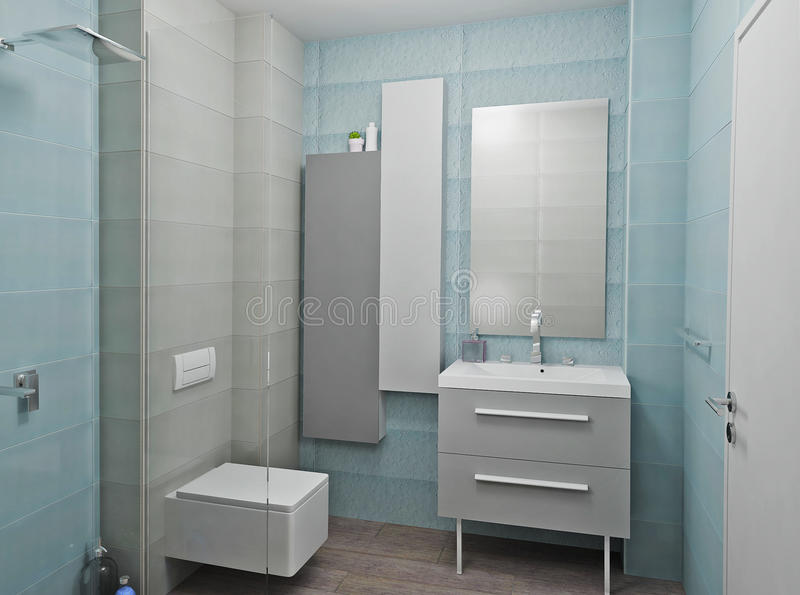 3 d łazienki wewnętrznego nowoczesnego się zdjęcia royalty free
